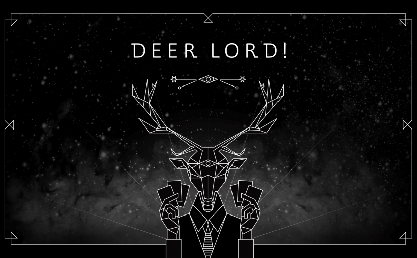 DEER LORD header image on homepage with light beams and star background