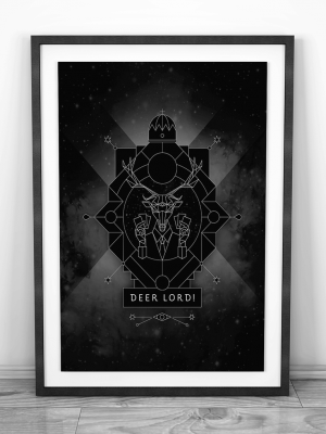 deer lord party card game web shop poster frame design