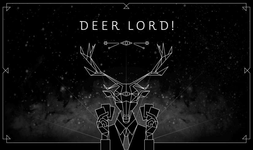 deer lord party card game home page header mascot design
